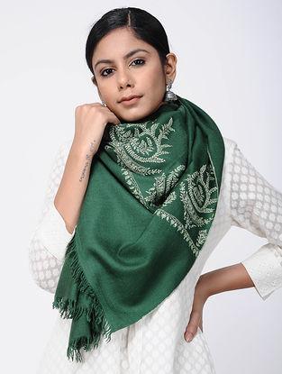 Green-Ivory Sozni-embroidered Pashmina Stole