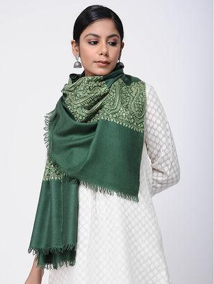 Green Sozni-embroidered Pashmina Stole