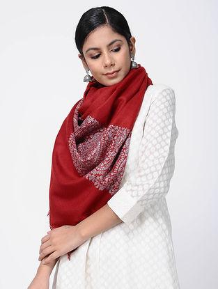 Red Sozni-embroidered Pashmina Stole