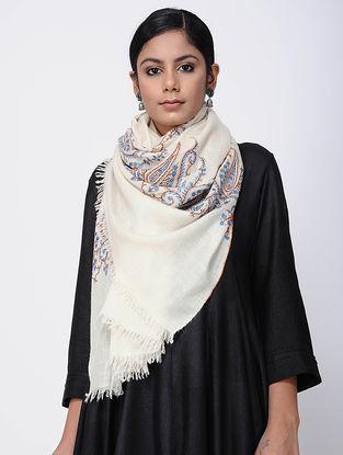 Ivory-Blue Sozni-embroidered Pashmina Stole