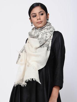 Ivory-Black Sozni-embroidered Pashmina Stole