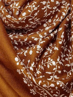 Brown-Ivory Sozni-embroidered Pashmina Stole