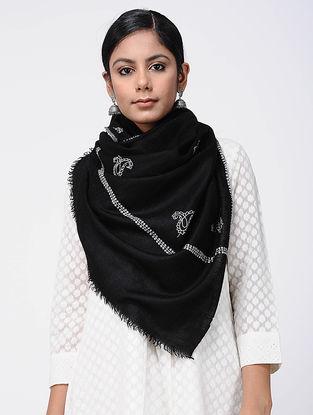 Black-Ivory Sozni-embroidered Pashmina Stole
