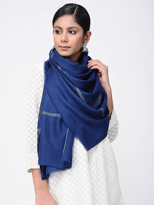 Blue-Ivory Sozni-embroidered Pashmina Stole