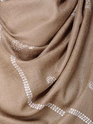 Beige-Ivory Sozni-embroidered Pashmina Stole