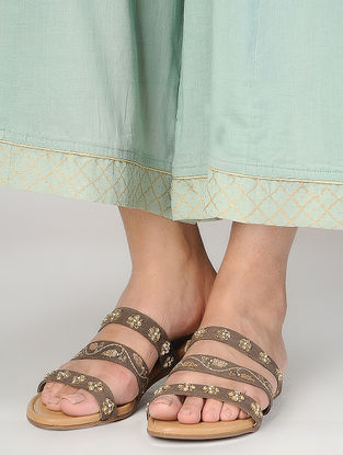 Brown Handcrafted Suede Flats with Sequin Embellishments