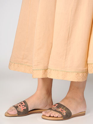 Brown Thread-Embroidered Suede Flats with Sequin Embellishments
