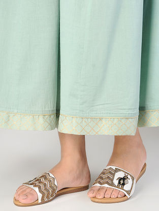 Cream Zardozi-Embroidered Raw Silk Flats