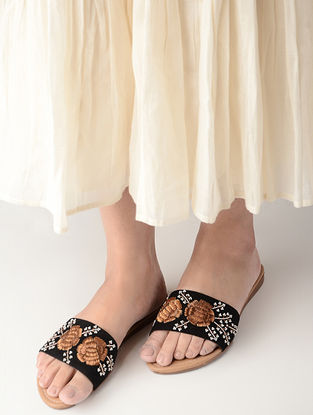 Black Hand-Embroidered Suede Flats With Sequin Embellishments