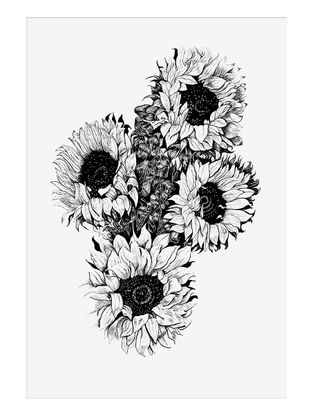 Sunflower Art Print on Paper- 12in x 12in