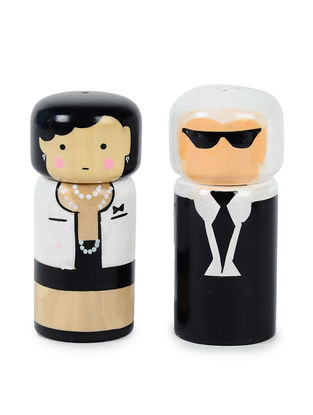 Chanel-Karl Hand-painted Wood Salt and Pepper Shakers (Set of 2) (L:2in, W:2in, H:4.2in)