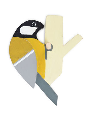 Yellow-Black Hand-painted Woodpecker Wood Wall Hook (L:7.2in, W:6in, H:3in)