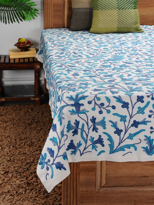 White-Blue Crewel-embroidered Cotton and Wool Double Bedcover with Floral Motif (110in x 91in)