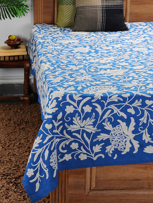 White-Blue Crewel-embroidered Cotton and Wool Double Bedcover with Floral Motif (105in x 94in)