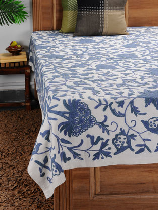 White-Blue Crewel-embroidered Cotton and Wool Double Bedcover with Floral Motif (105in x 92in)