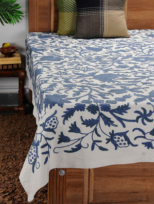 White-Blue Crewel-embroidered Cotton and Wool Double Bedcover with Floral Motif (105in x 86in)