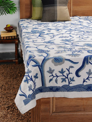 White-Blue Crewel-embroidered Cotton and Wool Double Bedcover with Floral Motif (106in x 87in)