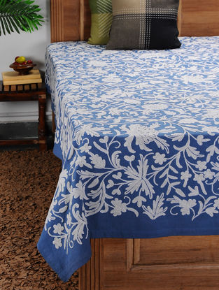 White-Blue Crewel-embroidered Cotton and Wool Double Bedcover with Floral Motif (104in x 88in)