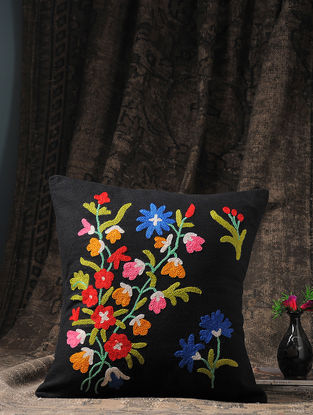 Black-Multicolored Crewel-embroidered Cotton and Wool Cushion Cover with Floral Motif (16in x 16in)
