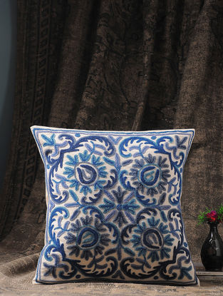 White-Blue Crewel-embroidered Cotton and Wool Cushion Cover with Floral Motif (16in x 16in)