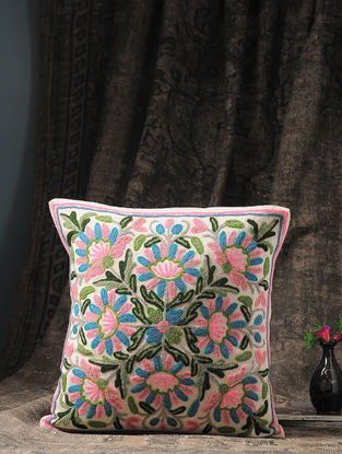 Multicolored Crewel-embroidered Cotton and Wool Cushion Cover with Floral Motif (16in x 16in)