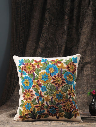 Multicolored Chain Stitch-embroidered Cotton and Wool Cushion Cover with Floral Motif (16in x 16in)