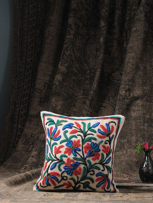 Multicolored Crewel-embroidered Cotton and Wool Cushion Cover with Floral Motif (12in x 12in)