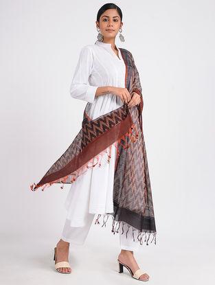 Black-Maroon Ikat Cotton Silk Dupatta