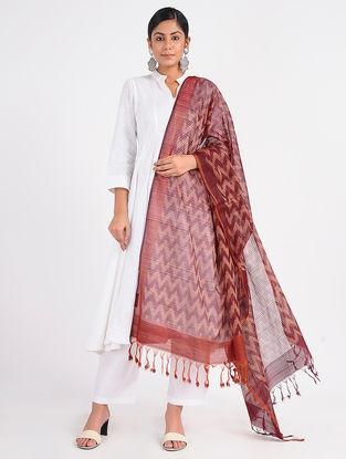 Maroon Ikat Cotton Silk Dupatta