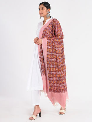 Red-Pink Ikat Cotton Dupatta