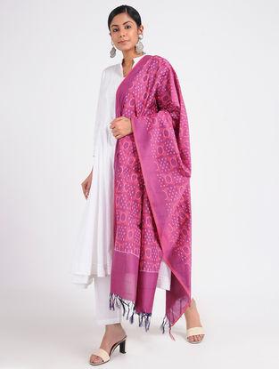 Pink Ikat Cotton Silk Dupatta