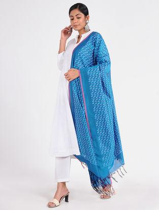Blue Ikat Cotton Silk Dupatta