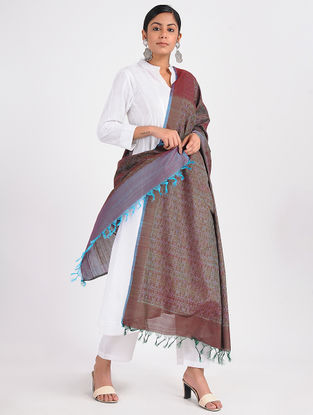 Maroon-Purple Ikat Cotton Silk Dupatta