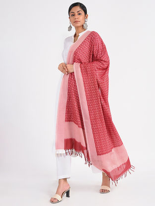 Red-Ivory Ikat Cotton Dupatta