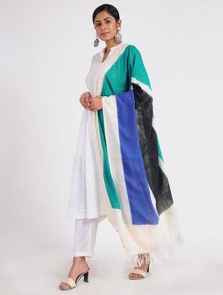Ivory-Green Ikat Cotton Dupatta