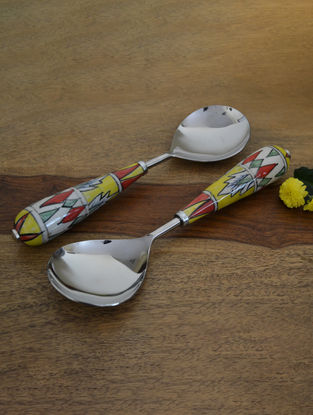 Mughal Multicolored Handcrafted Ceramic and Steel Serving Spoons (Set of 2) - L:10in