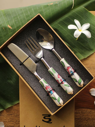 Magnolia Multicolored Handcrafted Ceramic and Steel Cutlery Set (Set of 3) - L:6.3in