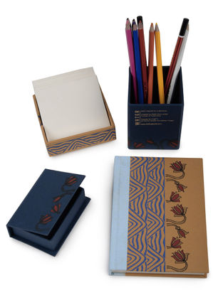 5 Elements Madhubani Office Stationery-Set of 4
