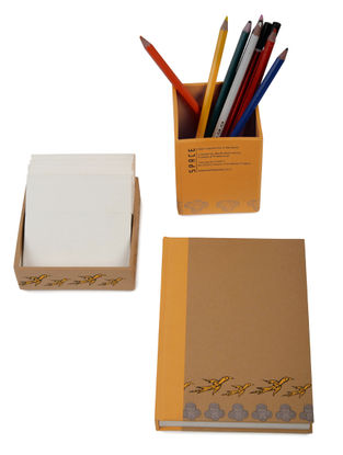 5 Elements Madhubani Desk Stationery-Set of 3