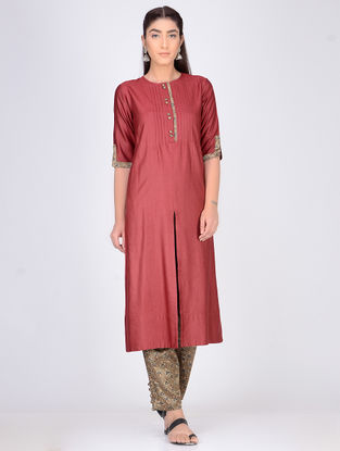 Maroon Pintuck Cotton Silk Kurta with Elasticated-Waist Mashru Pants (Set of 2)