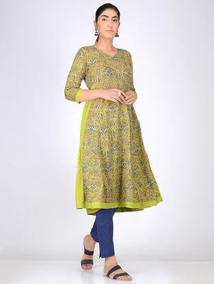 Green Block Printed Anarkali Cotton Kurta