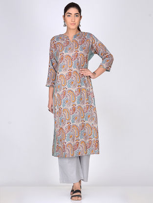 Multicolor Block Printed Anarkali Cotton Kurta