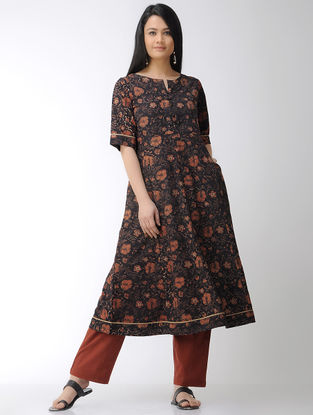 Black-Red Block-printed Cotton Kurta