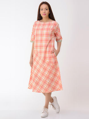 Orange-Ivory Cotton Dress with Pockets