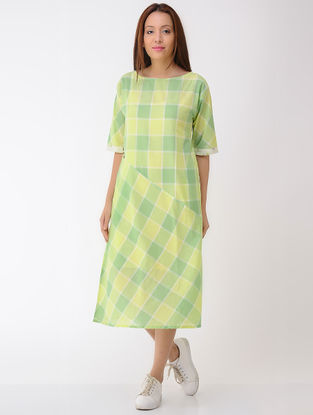 Green-Lime Cotton Dress with Pockets