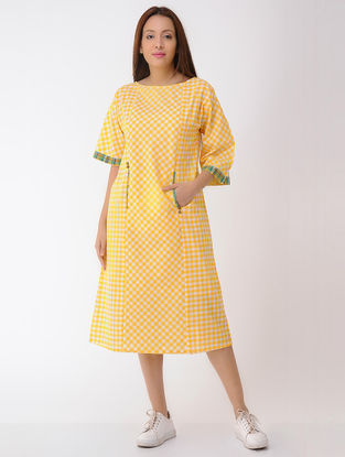 Yellow-Ivory Cotton Dress with Pockets