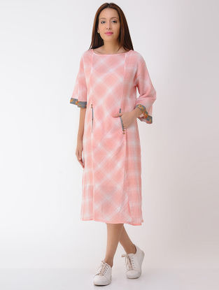 Peach-Ivory Cotton Dress with Pockets