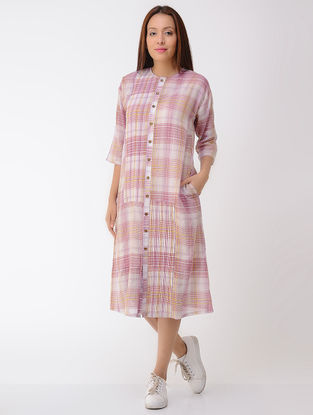 Pink-Ivory Pleated Button-down Cotton Dress with Pockets