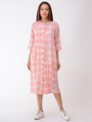 Peach-Ivory Pleated Button-down Cotton Dress with Pockets