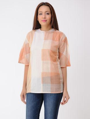 Orange-Ivory Cotton Top